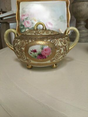 Nippon~Oriental China~Moriage~Beaded~Covered Sugar Bowl