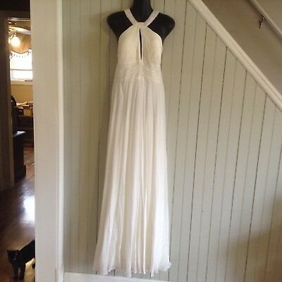 beautiful Aidan Mattox  dress gown queen size 14 100% silk  beading sequins