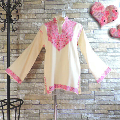 Pink Embroidery Top Vintage Hippie 70's Long Sleeves Sz M 1970s