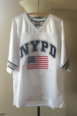 Colosseum Mans Size Large NEW YORK POLICE NYPD Heroes Football Jersey W/ Flag