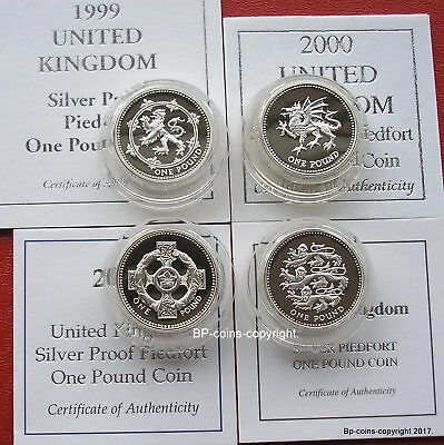 Royal Mint 1999-2002 Silver Proof One Pound Four Coin Set Boxed + Cert.