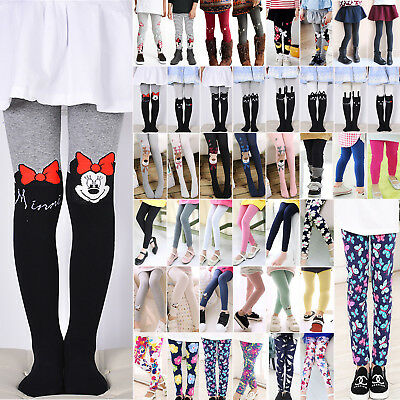 Kids Baby Girls Winter Warm Leggings Full Length Stretchy Bottoms Trousers Pants