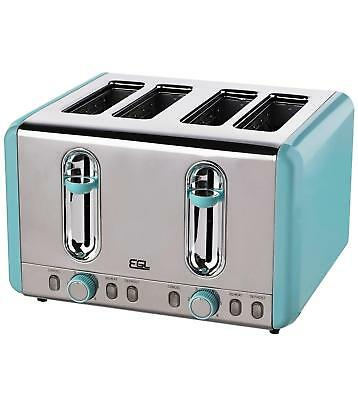 4 slice stainless steel toaster in duck egg - read description