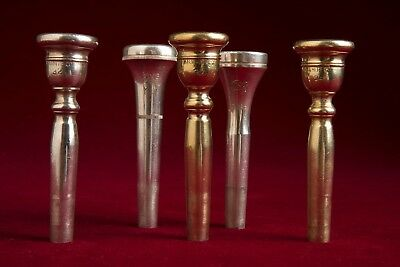 Lot of 5 Vintage HN White King Trumpet Mouthpieces - Gold & Silver 32 34 M11 M18