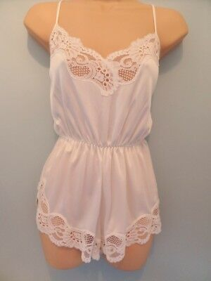 "Y16 Vtg Bhs White Sheer Lace Teddy Playsuit Camiknicker Body 36"" 14 M Nwot"