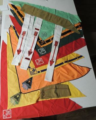 LOT: 13 Vtg BSA Boy Scout 3 OA Sashes Neckerchiefs Garrison Hat 1940s-60s Bonus