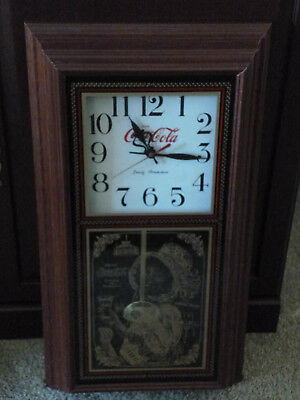 Wall Clock w/Pendulum - Coca-Cola Themed with Clock & Young Woman Holding a Coke