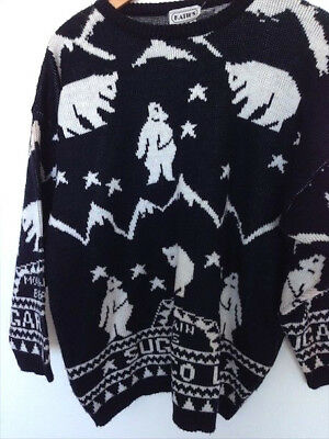 Vintage 80's party / costume Katies sweater jumper knit - sm-lg polar bears