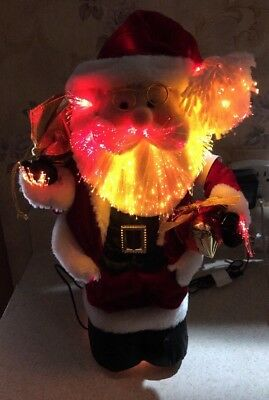 "Christmas Santa Fiber Optic Glowing  Decoration 17"" Lighted Light Changing Toy"
