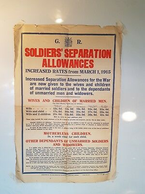 WW1 Poster, Soldiers Separation Allowances