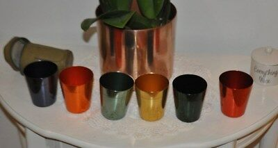 Vintage Stokes Melb. Aust 'tahiti 'anodised Aluminium Travel Cups In Case Retro