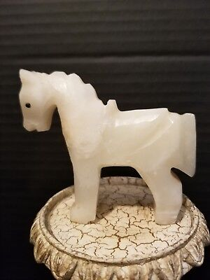 Vintage Hand Carved Creamy White Marble Horse