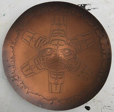 """8"""" Hammered Copper Haida Sun Charger Plate Harold Alfred Northwest Coast Indian"""