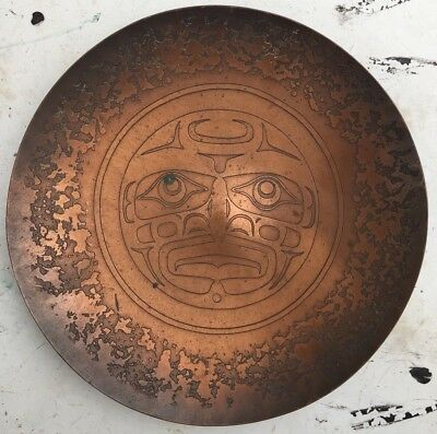 """8"""" Hammered Copper Haida Face Charger Plate Harold Alfred Northwest Coast Indian"""