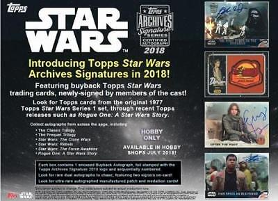 2018 Topps Star Wars Archives Signature Series Hobby Sealed Box Autographed