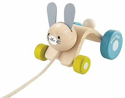 Kids Children Organic Eco Wooden Toy Hopping Bunny Pull-a-long