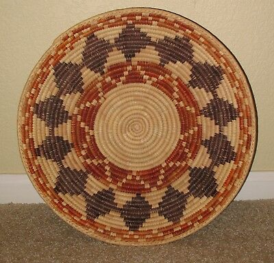 """Large 14"""" x 3-1/2"""" Navajo Tight Weave Coiled Basket"""