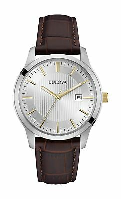 NEW Bulova Classic 98B266 Men's Rose Gold Accents Brown Leather Strap 40mm Watch