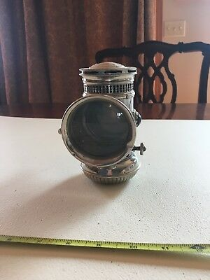 Vintage Antique Nickel Carbide Bicycle Lamp. Made by E.M. and Co. Miller's '97