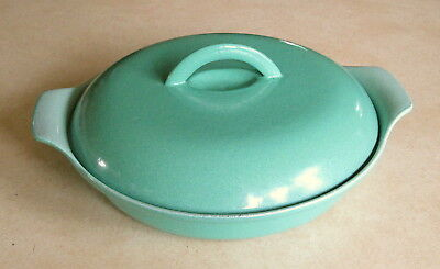 Vtg Prizer Ware RCD 1 Turquoise Enamel Cast Iron Divided Covered Casserole Dish