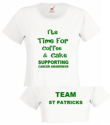 Coffee Cake Cancer Awareness T Shirt Coffee Morning Top Donation to Macmillan