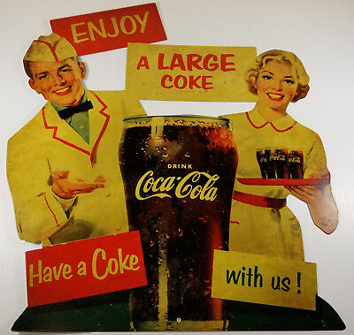 COCA COLA HAVE A COKE WITH US 1950s DINER GIRL BOY HEAVY DUTY METAL ADV SIGN