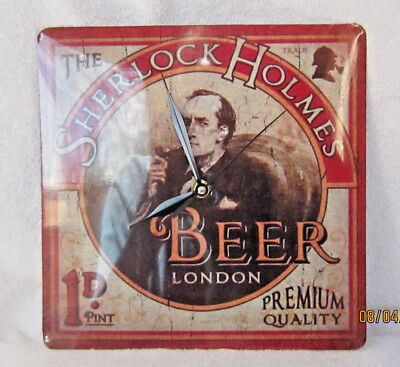 Sherlock Holmes Tin Wall Hanging Beer Clock. Excellent Condition Runs Perfectly