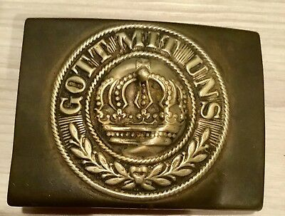 Imperial German, WW 1, Prussian Battle Damaged Enlisted Man's Brass Belt Buckle