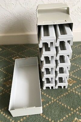 4 Hard Slide Carrycase with 10x projector magazines for 35mm slides West Germany