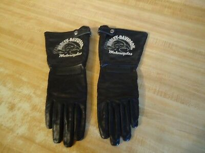 Harley Davidson Motorcycle Ladies Genuine Leather Zippered Gloves (S)