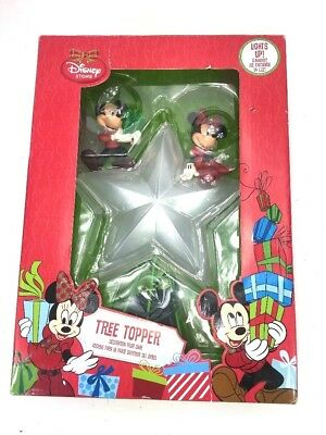 Disney Store Light Up Tree Topper Mickey Minnie Christmas Decor Battery Op.