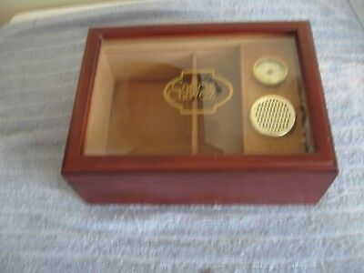 "Carlos Chavez Cigar Humidor Cedar Lined Tobacco Glass Wood 12"" x 8 1/2"""