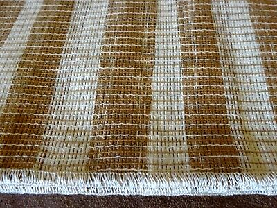 """VINTAGE SLEATER WOVEN STRIPED BROWN & TAN TABLECLOTH - 60"""" x 90"""" - NIP"""