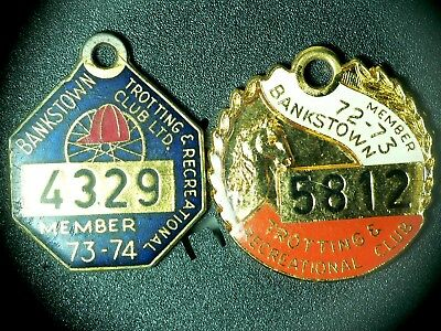 2 Bankstown Trotting & Recreational Club Ltd. Enamel Badges 1972-73  1973-1974