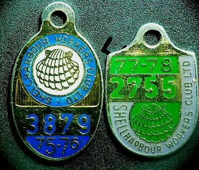 2 Vintage Shellharbour Workers Club Member Badges  1975-76 1977-78