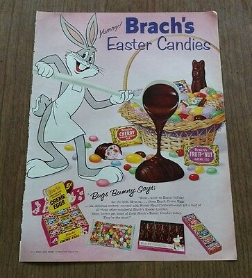 Vintage Brach's Easter Candy featuring Bugs Bunny Paper Advertisement