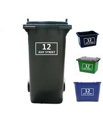 Wheelie Bin Stickers x4 Recycling Box Stickers Custom Made Number House Name