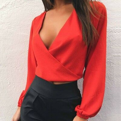 Women's Loose Long Sleeve Cotton Casual Blouse Red Shirt Tunic Tops Size XL