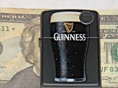 New Genuine ZIPPO Windproof Flame USA Lighter 29649 Guinness Stout Beer Glass