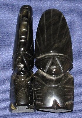 One Pair of Carved Black Onyx Latin American Idol Figures Aztec Style