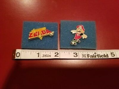 VINTAGE Nintendo Legend of Zelda and Mario on Skateboard Collector Pins 1988