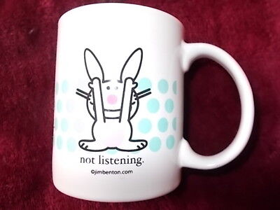 Its Happy Bunny Pink Rabbit Jim Benton Coffee CUP MUG Sassy Gift NOT LISTENING