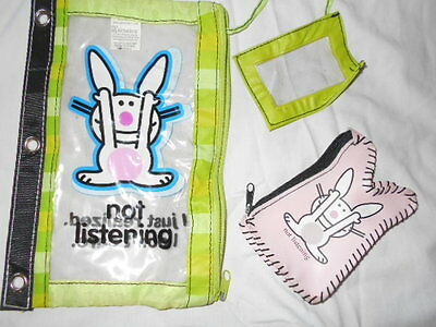 LOT 2 ITEMS It's Happy Bunny PENCIL CASE & PINK CHANGE PURSE Jim Benton