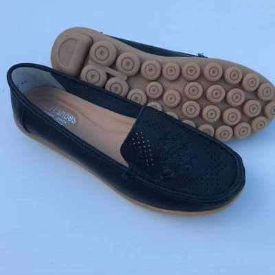 WOMENS Auyi Comfort Soft Nodule black LEATHER FLATS loafers moccasin SHOES