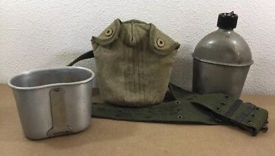 US Military WWI 1918 Rolled Rim CANTEEN CUP, WWII 1944 Canteen, 1945 Cover Belt