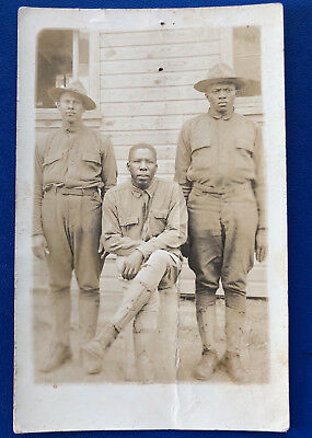 WW1 Real Photo Postcard, RPPC, of 3 African American soldiers, dougboys