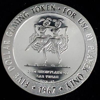 1967 Silver Slipper Casino $5 Sterling Silver Proof Gaming Token Chip >GTSS74