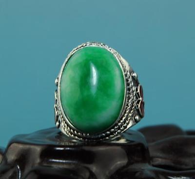 Collect China hand-made silver inlay jade carve cloisonne butterfly ring a01