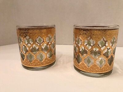 Vintage Pair of MCM 1960's Culver Ltd Valencia  Gold Old Fashioned Glasses