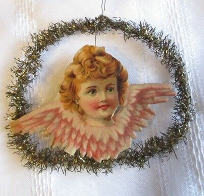 Antique Victorian Ornament~Embossed Paper&gold Tinsel~Red Hair Angel~Wire Hanger